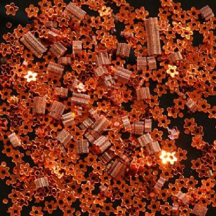 DISCONTINUED Tiny 3mm Metallic Orange Flower Sequins. SAVE £2